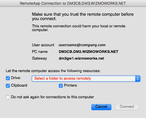 Selecting a folder to access remotely (MAC remote desktop